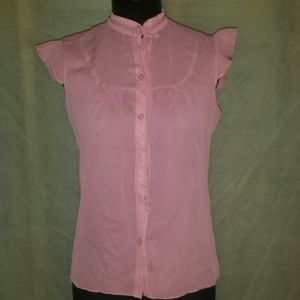 Forever 21 pink sheer blouse top size medium